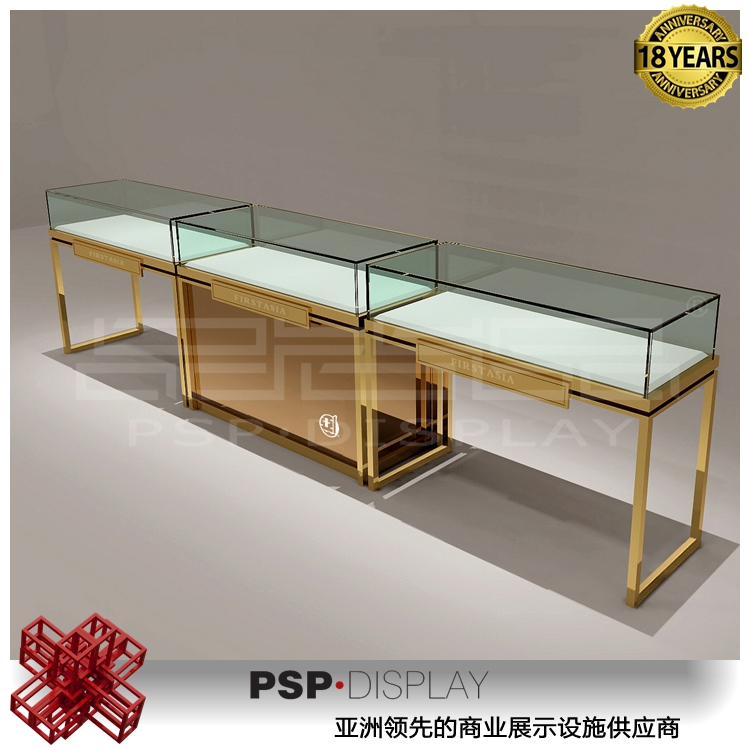 Fully Assembled Elegant stainless steel Showcase store counter with countertop