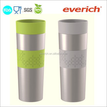16oz custom logo vacuum double wall stainless steel travel mug with silicone band