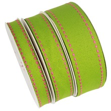 Mixed colorful polyester stitch ribbon for garment accessories saddle stitched grosgrain ribbon