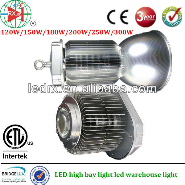3 years warranty high lumen Bridgelux LED chip 45 mil Meanwell driver 300W cooper led high bay light