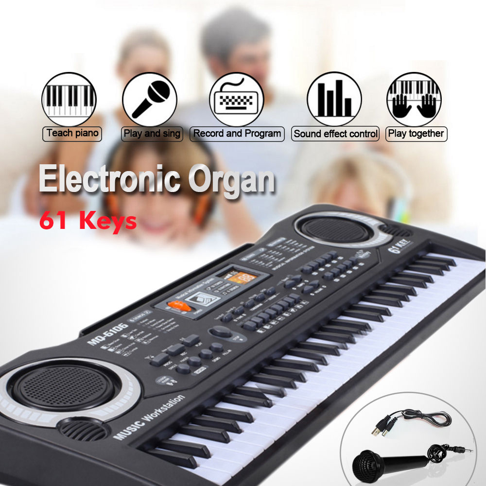 Splinktech 61 Key Digital Music Electronic Keyboard Electric Piano Set Organ w/Microphone