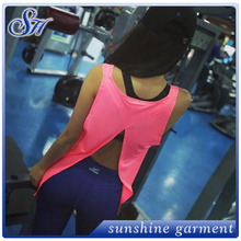 The new summer sports fitness loose tank top necklines vest woman Quick-drying back split small smock