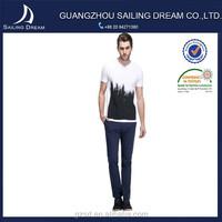 Newest style high quality crew neck black and white brushing men clothing
