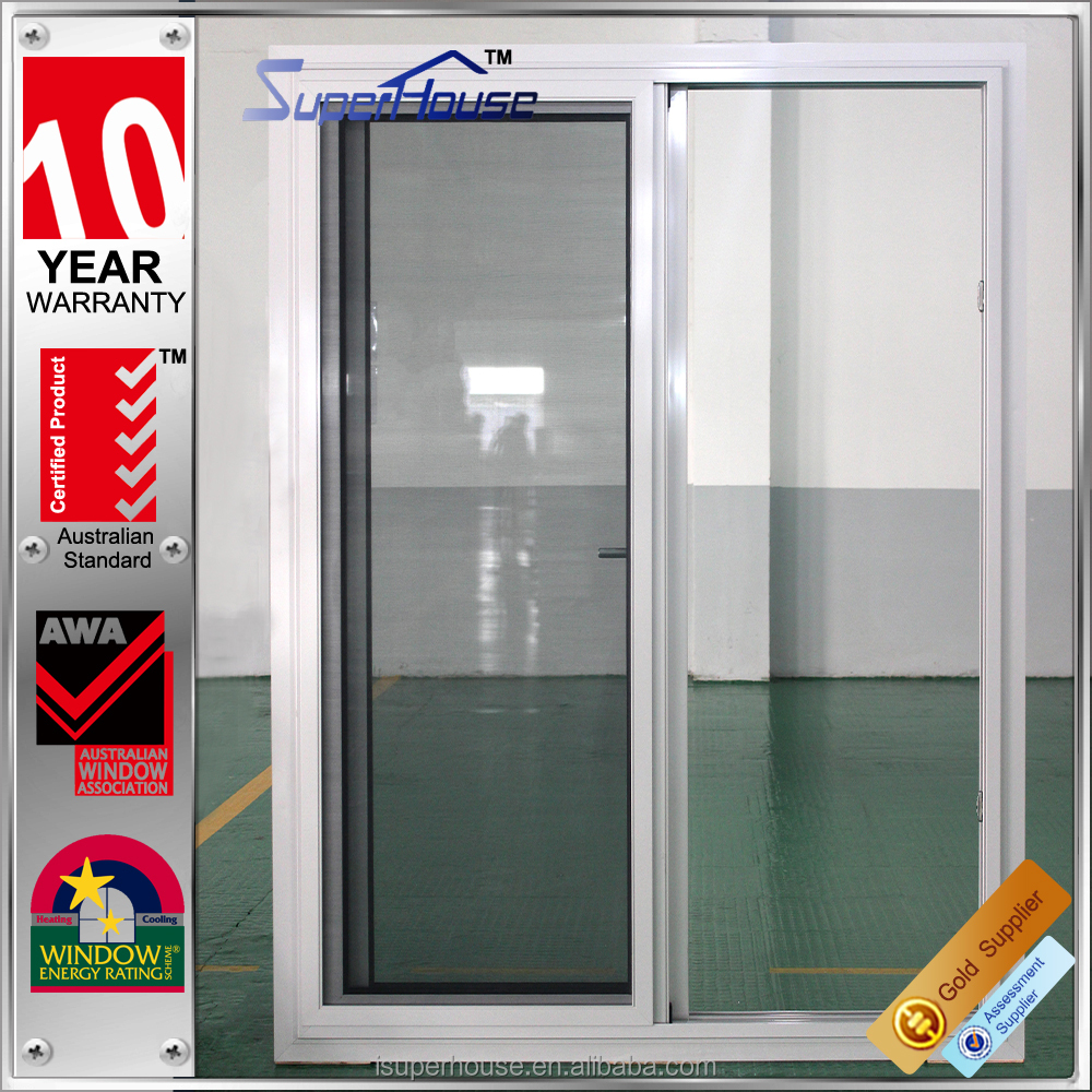 AS2047 low e 2 panle silver aluminium sliding door with screen and fin