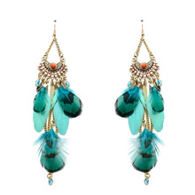EH0216JN 2017 Wholesale Fashion vintage saudi gold beaded tassel feather bohemian earrings designs jewelry for women