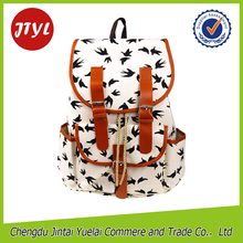 Europe Style Fashion Swallow Print Canvas Women Backpack For High school