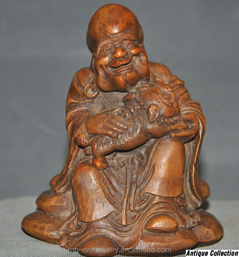 Old Chinese Bamboo Root hand-carved Damo Dharma Laugh lion Arhat Buddha Statue