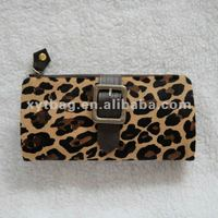 Leopard print design ladies fashion leather wallts