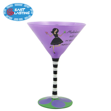2018 new personalized colored long stem martini wine glass with valentine style