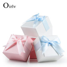 Oirlv Cheap Wholesale Pink Ring Jewellery Packing bowknot ribbon Pendant Necklace earring Boxes Sponge insert gift box cardboard