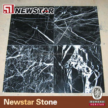 Polished white and black marble