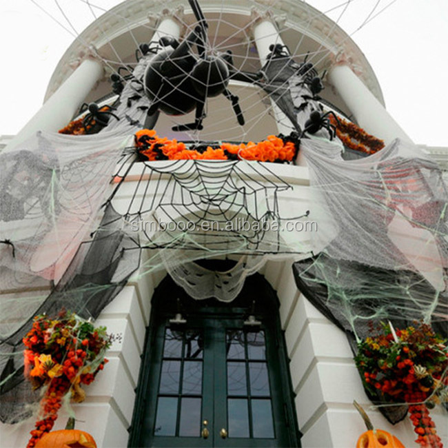 Halloween decorations of haunted house terror spider web