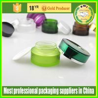skin cream container in glass material in dark green from Allwin Company
