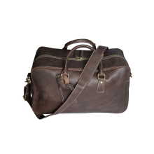 1DF0083 Men's PU Leather Brown Large Capacity Travel Luggage Duffle Gym Bag Wholesale Brown Duffle Bag