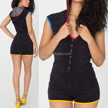New Style Loop Terry Hooded Romper For Women L1793
