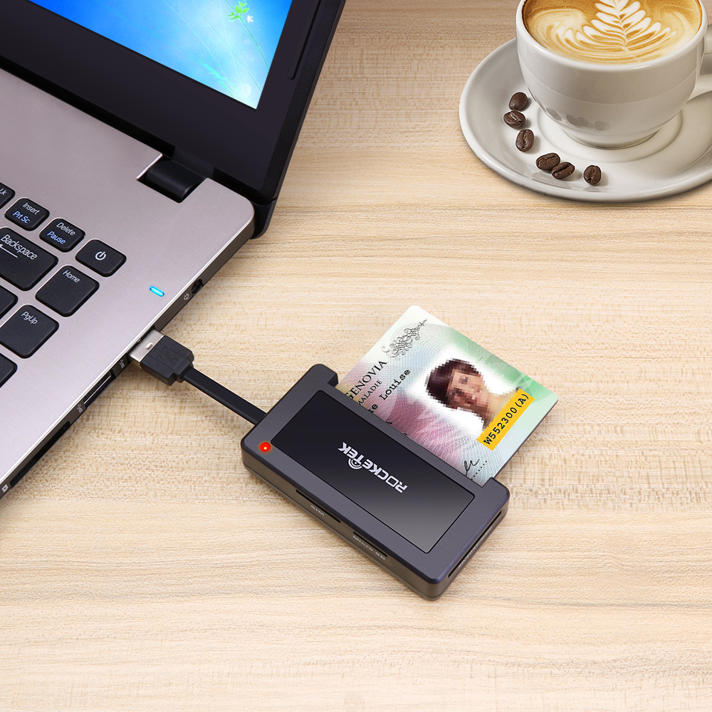 ISO 7816 4 Slots smart usb card reader with Chip/SIM/TF/SD