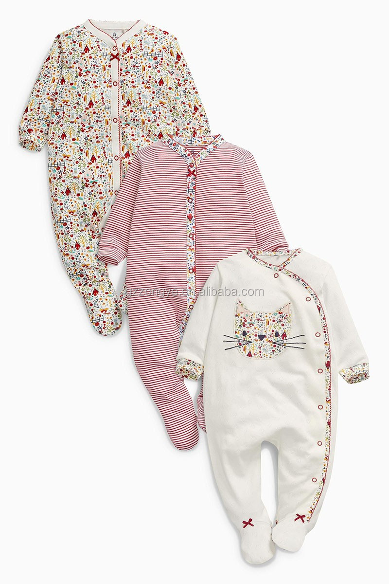 Multi Floral Print baby sleepsuit and three pack