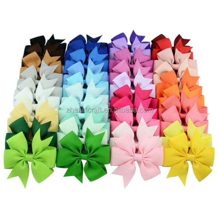 Cute Hairpins Baby Ribbon Hair Bows with Clip or Elastic for Girls