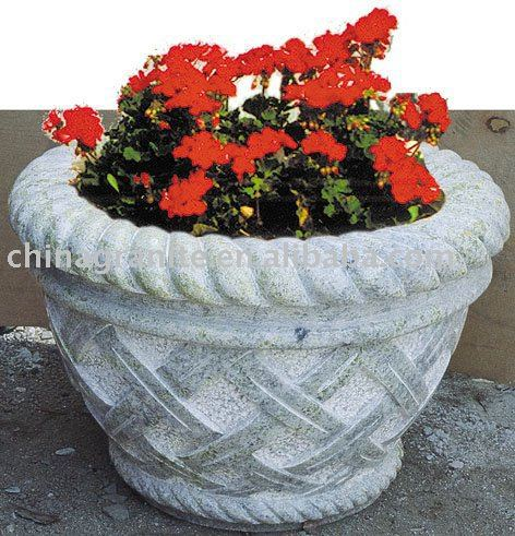 natural grey granite stone flower pot for garden used