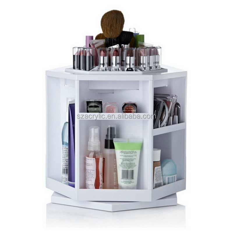 Plastic makeup organizer 360 degree rotation white color cosmetic storage