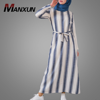 Cheaper Price Stripe Style Muslim Abaya Plus Size Casual Long Dress Hotsale Middle East Arabic Islamic Clothing