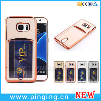 Transparent Soft Silicone Card Slot Pouch Ultra Thin Phone Case For Samsung Galaxy S7 Edge Crystal Cover
