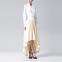 latest skirt design pictures irregular lap pure color long milk silk skirt for lady