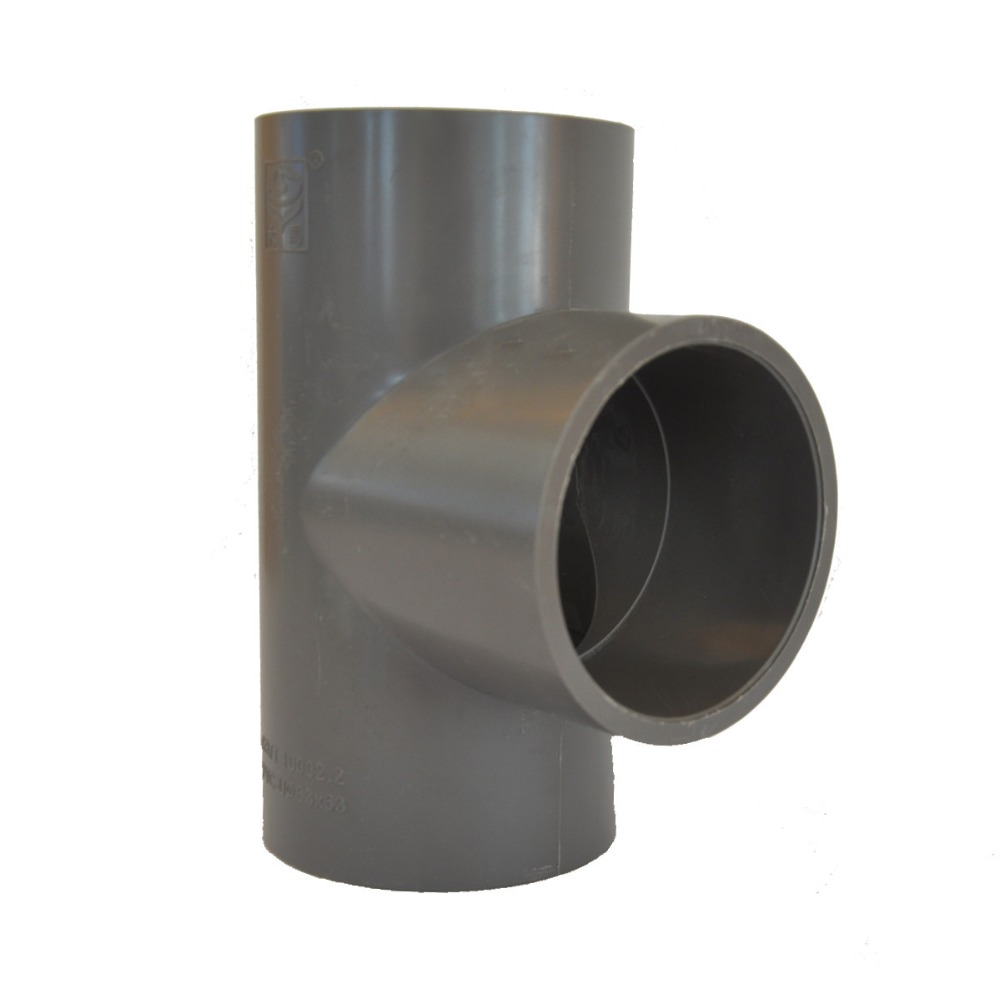 Plastic Tee PVC Three Ways Tee Pipes Fittings Grey