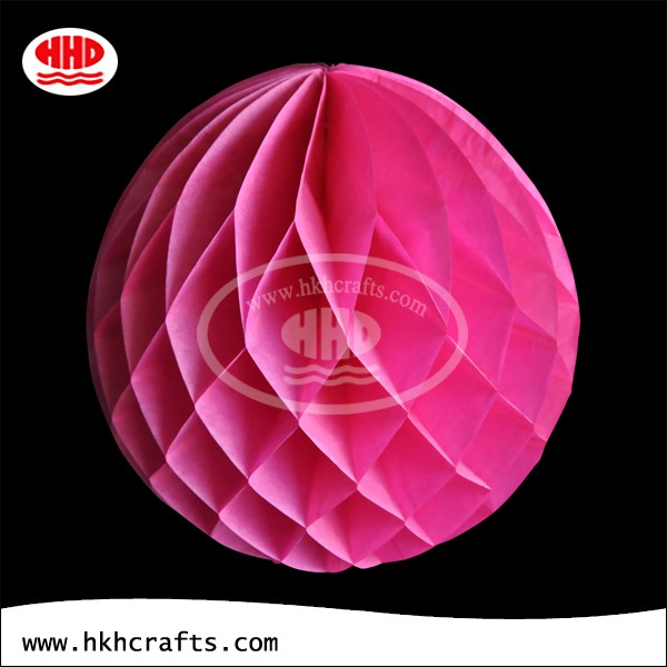 Pink tissue paper honeycomb ball lamp