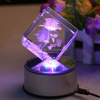 3D Laser Engraving Blank Crystal Glass Block For Wedding Souvenir Cube MH-FT0037