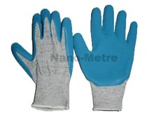 NMSAFETY HPPE knitted liner latex palm and finger cut protection gloves