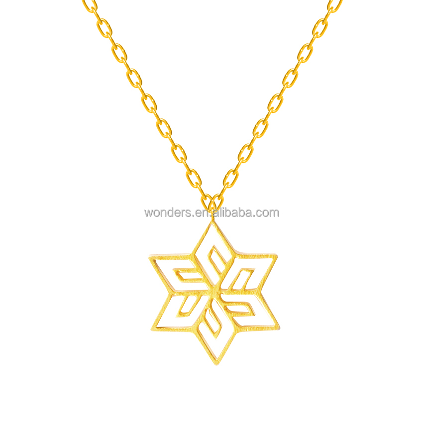 Winter Christmas Stainless Steel Origami Snowflake Charm Pendant Necklace Women Jewelry Gold Plated