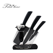4Pcs Black Blade Ceramic Kitchen paring Knife knives Set + Peeler
