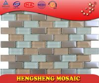 New Design Chinese Foshan Plating Strip Cube Glass Mosaic tile trading company