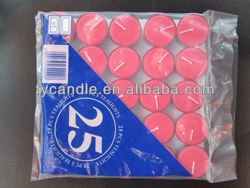 12g colorful tea candle with bag,25pcs in one bag,3hrs burning time