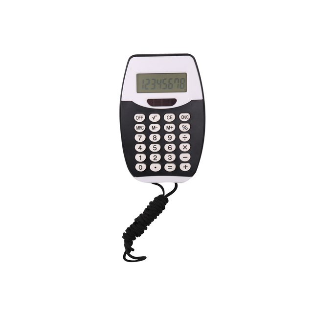 Promotional Cute Dual Power Children Using Pocket Calculator with Lanyard