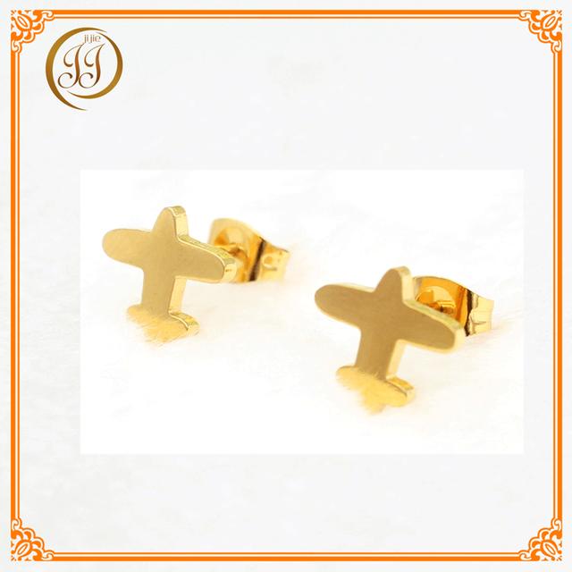 Bulk Price Cheap Fashion Jewelry Vogue Wholesale Earrings Plane Shape Gold Stud Earrings For Men