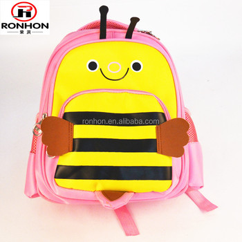 polyester children cartoon school bag BEE design kids backpack