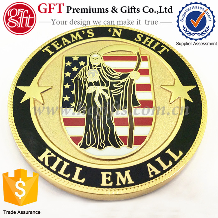 Factory sale directly! Custom Kill EM All Challenge Coin A god of death sickle Metal Coins