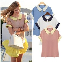 2014 Hot Sale New Fashion Women's Turn-down Collar Chiffon Shirt Ladies' Patchwork Short Sleeve Blouse plus size 19491