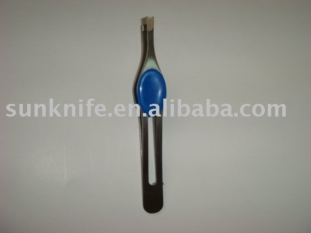 bodyshop stanless steel brow tweezer with plastic button