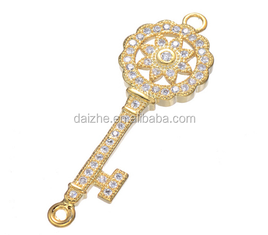 Fashion 925 sterling silver 2015 new arrived cheap factory bracelet connector gold key pendant