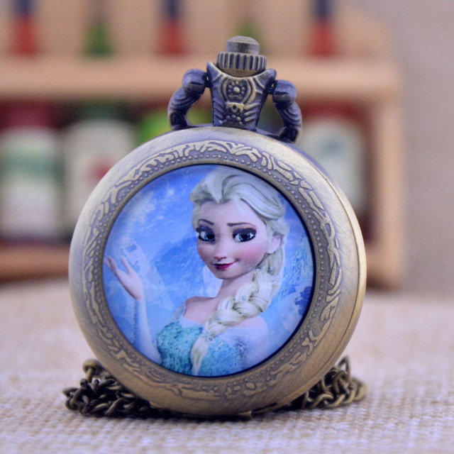 New Arrivals The Snow Queen Princess Elsa Black/Bronze/Silver Glass Dome Design Quartz Pocket Watch Necklace Men Women Kids Gift