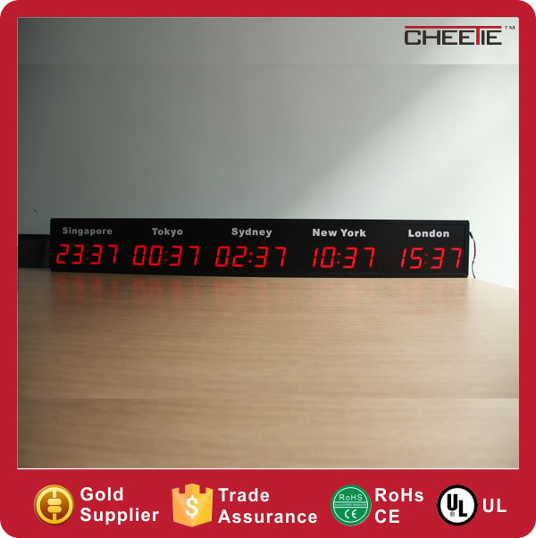 Programmable LED Digital Display Wall Decorative Time Zone Clock