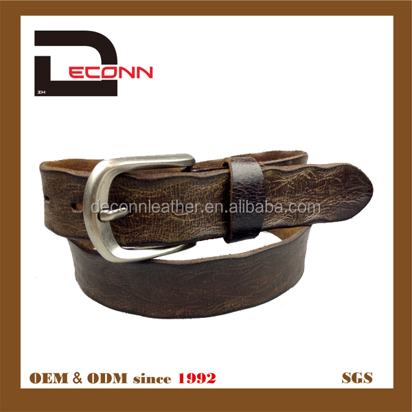 High quality vagetable tanned leather men belt with pin buckle