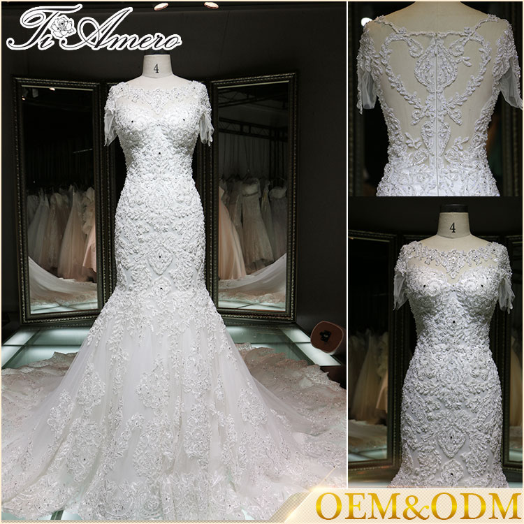 2016 China custom made wholesale trumpet Guangzhou wedding dress bridal gown