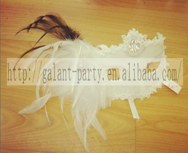 Factory Cheap 2014 Woman Blank Masquerade White Feather Mask Carnival Half Face Dance Mask for all party and festival