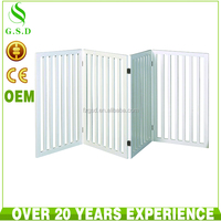 wholesale indoor white wooden 4 panel cat pet dog gates , pet door