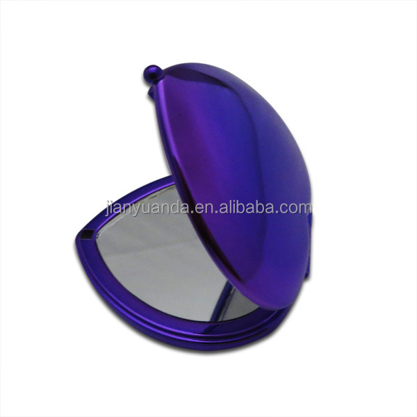 chrome foldable cosmetic makeup mirror / small pocket size double sided heart shaped compact mirror