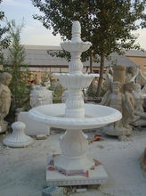 3 tiers white marble outdoor water fountain.